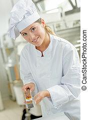 Chef holding tart