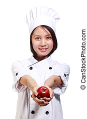 Chef holding the apple