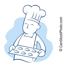Chef holding tray of cookies