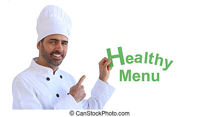 Chef holding up a sign saying Healthy Menu