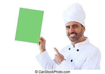 Chef holding up an empty sign in green