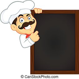 Chef Holding Wooden Menu Board - Clipart Picture of a Chef ...