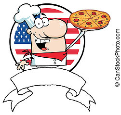 Chef Holds Up Pizza