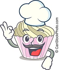 Chef homemade meringue cake on character cartoon