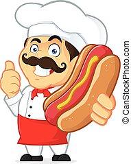 chef, hot dog, presa a terra