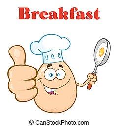chef, huevo, caricatura, mascota, carácter, actuación, pulgares arriba, y, tenencia, un, sartén, con, alimento