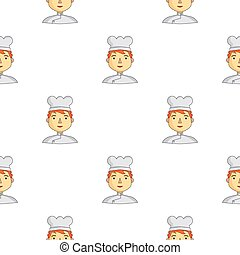 Chef icon in cartoon style isolated on white background. People of different profession pattern stock vector illustration.