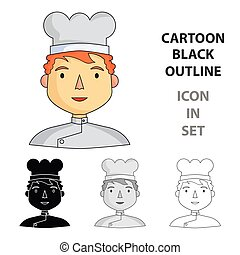 Chef icon in cartoon style isolated on white background. People of different profession symbol stock vector illustration.