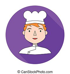 Chef icon in flat style isolated on white background. People of different profession symbol stock vector illustration.