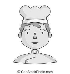 Chef icon in monochrome style isolated on white background. People of different profession symbol stock vector illustration.
