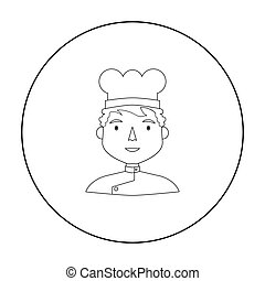 Chef icon in outline style isolated on white background. People of different profession symbol stock vector illustration.