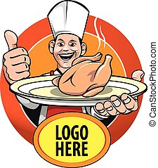 Chef - icon or symbol of an expert cook with a special menu ...