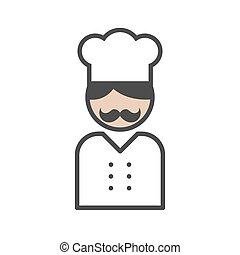 Chef icon with a moustache on white background