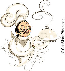 Illustration of a cute professional chef holding cloche