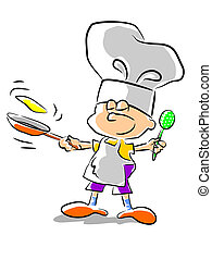chef, -, illustrazione, capretto
