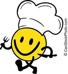 chef, illustrazione, felice