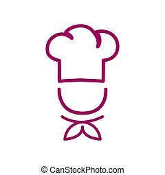 Chef in a cooking hat vector outline logo. Kitchen simple red icon.