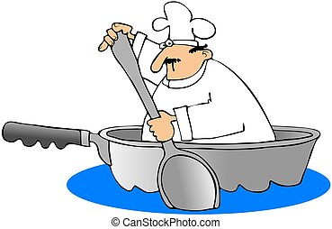 Chef In A Frying Pan Boat - This illustration depicts a chef...