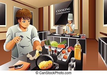 chef, in, cottura, concorrenza