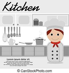Chef In Kitchen.