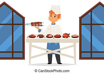Chef in meat restaurant presents different dishes, people vector illustration