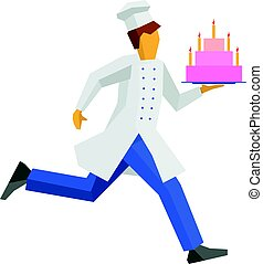 Chef in white hat runs with cake on a tray