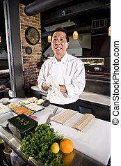 chef, ingredientes, sushi, japonés, restaurante