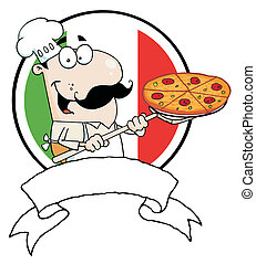 Chef Inserting A Pepperoni Pizza - Male Pizzeria Chef...