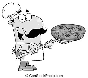 Chef Inserting A Pepperoni Pizza - Fast Food-Proud Chef...