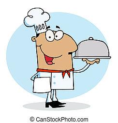 chef, ispanico, tipo, alimento serving