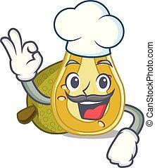 Chef jackfruit character cartoon style vector illustration
