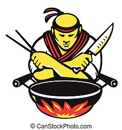 vector illustration of a japanese cook chef with knife chopsticks and wok on fire on isolated white background.