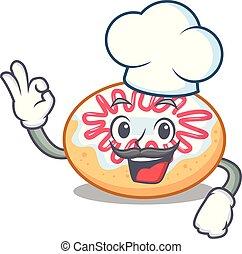 Chef jelly donut character cartoon
