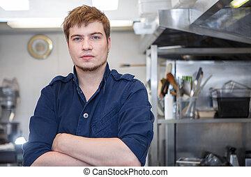 chef, joven, cocina