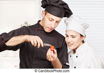 chef joven, fruta, adornar, 3º edad, enseña