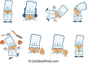 chef, jugar, diminuto