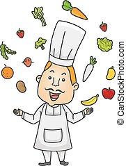 Chef Juggling Food