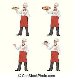Chef keeps a dish of food.Set of four illustrations
