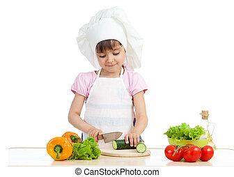 Chef kid preparing healthy food
