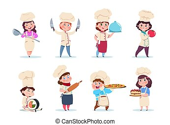 Chef kids. Little smiling boy and girl kitchen workers with dishes and cooking tools. Cartoon children cooks vector set