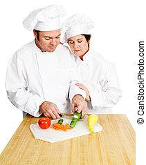 chef-koks, kotelet, groentes