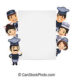 chef-koks, lege, spandoek, het voorstellen, verticaal