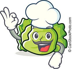 Chef lettuce character cartoon style