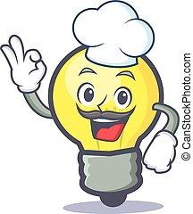 Chef light bulb character cartoon