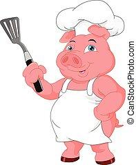 chef, lindo, caricatura, cerdo