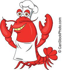 Chef, lindo, langosta, caricatura