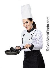 chef, listo, cocinero, hembra