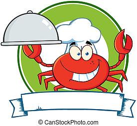 chef, logotipo, cartone animato, granchio, mascotte