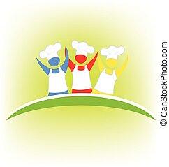 Chef, logotipo, trabajo en equipo