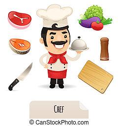 chef, macho, conjunto, iconos